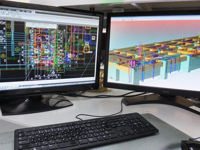 設備専用3Dキャドによる施工図作成